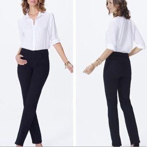Nydj marilyn straight leg jeans black Sz 4 short